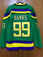 jersey di hackback di ricreazione EJ Mighty Ducks Movie Jersey # 99 Adam Banks tutti cucito Retro hockey jersey