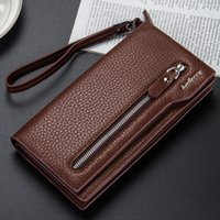 Wholesale Multifunctional Purse - 2017 new design Baellerry new men's wallet zipper leather wallet multifunctional business clutch purse long purse 3 colors Free shipping