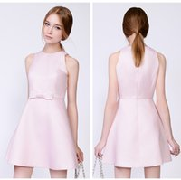Wholesale Cheap Sexy Bodycon Midi Dresses - LD034 Fashion O Neck Pink Bowknot Club Dress None Sleeve Midd Autumn Dress Backless Sexy Cheap Bodycon Party Dresses Office Dress