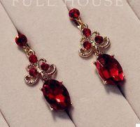 diamant tropfen halsketten bräute großhandel-Red Diamond Drop Hochzeit Braut Set Halskette Ohrringe (1,8 * 1,3 cm) (hb3308)