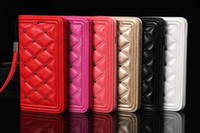 Wholesale Mirror Makeup Fashions - Luxury Fashion Brand Genuine Leather FlipWallet Phone Case Cover For iPhone 7 Plus 6 6S Plus 5 5S Cases With Wallet & Makeup mirror