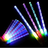 Wholesale Glow Sticks Rave Wholesale - New Styles LED Cheer Rave Glow Sticks Acrylic Spiral Flash Wand For Kids Toys Christmas Light Concert Bar Birthday Party Supplies