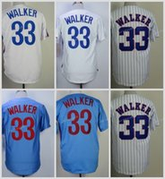 Compra Larry Walker-Montreal # 33 <b>Larry Walker</b> Casa Away Baseball Jersey Blu Bianco Pinstripe Vintage Throwback Retro Cool Base cucito Maglie