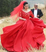 Wholesale Red Wedding Evening Dress - Red Plus Size Wedding Dresses with Short Sleeves A-Line Satin Illusion V Neck Cheap Sexy 2016 Spring Garden Bridal Evening Gowns Custom Made
