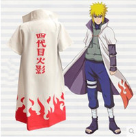 Wholesale Naruto Minato Cosplay - Anime Naruto Cosplay Costume naruto 4th Hokage Cloak Robe White Cape Dust Coat Unisex Fourth Hokage Namikaze Minato Uniform Cloak