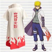 naruto cosplay toptan satış-Anime Naruto Cosplay Kostüm naruto 4 Hokage Cloak Robe Beyaz Pelerin Toz Ceket Unisex Dördüncü Hokage Namikaze Minato Üniforma Pelerin