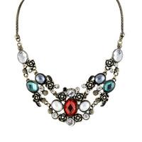 Wholesale Vintage Rhinestone Choker - Vintage Gothic Jewelry Rhinestone Statement Alloy Choker Antique Necklace for Women