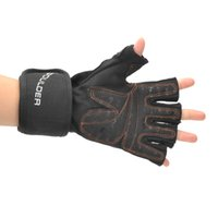 Wholesale Cycling Half Fingers Gloves - 2016 New Boulder BRD201 Half-Finger Gym Training Gloves w  Wrist Support Wrap - Black (2 PCS) Free Shipping