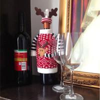 ingrosso coperte di bottiglie di vino a maglia-La bottiglia delle coperture della bottiglia di Champagne di vetro del vino rosso della lana di lavoro a maglia del cervo bag per la decorazione di natale libera il trasporto