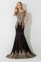 Wholesale Embroidery Rhinestone Cap - 2017 Evening Dresses Sheer Jewel Neck Illusion Back with Crystal Mermaid Rhinestones Prom Gowns Free Shipping Cheap Custom Gowns
