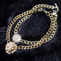2015 Moda Feminina Gold Plated Alloy Chain Statement Choker Chunky Lion Head Pingente Pendant Club Party Gift TC0415