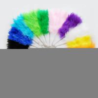 ingrosso bei colori per il matrimonio-Bella ventaglio di piume per oggetti di scena, ventaglio pieghevole in piuma d'oca, 5 colori