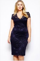 Wholesale Drape Puff - Womens clothing ladies Blue Lace shift pencil Formal Prom Dress Cocktail Ball Evening Party sexy plus big size Dress 563
