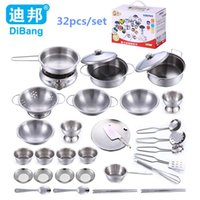 Wholesale Free Educational Materials - Wholesale-32pcs set Educational toy model simulation kitchen utensils toys stainless steel quality material Christmas gift Free shipping