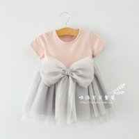 Wholesale Dresses For Big - Tutu dresses for girls 2015 summer new big bowknot toddler baby princess dresses short sleeve round collar children one-piece dress ab1942