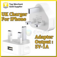 Wholesale 5v 1a Power Adapter White - Travel Wall Charger Adapter UK 3 pin Plug Output Really 5V 1A For iphone 4S 5 5S 6 Plus White