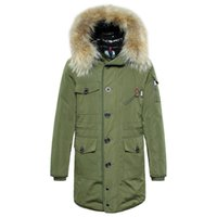 Wholesale Winter Coats Norway - Norway Winter Down Jakcets 2015 High Quality Monlers Mens Winter Parka With Fur Hood Duck Down Jacket Men Army Green Down Coats M-3XL
