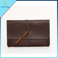 Wholesale Envelope Bag Leather Men - Wholesale-2015 New Vintage Crazy Horse PU Leather Men Envelope Day Cluth Bag Stylish Coffee Bussiness Briefcase Handbag Ipad Office Bags