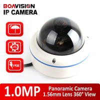 Wholesale Mini Wired Infrared Camera - H.264 HD 720P Mini Outdoor Dome Fisheye IP Camera With POE 1.0MP Realtime Securiy Waterproof 360 Degree Panoramic IR-Cut Support Mobile View