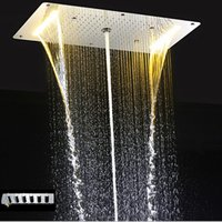 Wholesale Embedded Shower Head - Luxury led rain Shower Thermostatic Faucets SUS304 With Embedded Ceiling LED Shower Head 380x700mm Rainfall Mist Spout 4'' Body Jet