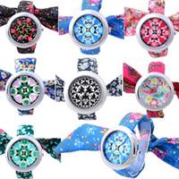 Wholesale Rose Floral Print Fabric - 2015 Hot! Women Flower Cloth Watches Vintage Quartz Reloj Floral Fabric Band Rose Flower Print Wristwatch