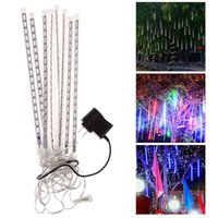 2017 8PCS / Set Snowfall LED Strip Light Tubo de chuva de Natal Meteor Shower Rain Tubos de luz LED 100-240V EU / US / UK / AU Plug