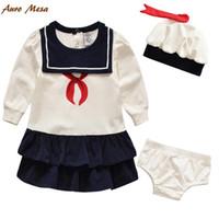 Wholesale School Girl Underwear - New 2016 Girl Cotton Frock Designs+Hat+Underwear Lond Sleeve White Kids Girl Set School Style Babies Clothes Set