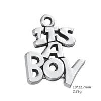 erkek cazibe kolye toptan satış-Takı Yapımı Için çinko Alaşım Charm Yeni Bebek Hediye Kelime charms BU Bir Boy Diy Bilezik Kolye Kadın Takı