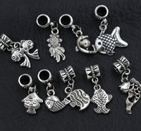 Wholesale Silver Plated Fish Beads - 90pcs lot 9Styles Antique Silver Assorted Goldfish Fish Alloy Big Hole Dangle Beads Loose Bead Fit European Charm Bracelet