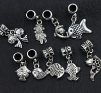 Wholesale Fish Holes - 90pcs lot 9Styles Antique Silver Assorted Goldfish Fish Alloy Big Hole Dangle Beads Loose Bead Fit European Charm Bracelet