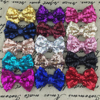 "Wholesale Solid Hairbows - Wholesale 30pcs lot free shipping 3"" Sequin Hairbows WITHOUT Alligator CLIP for Baby Girl Hair Accessory,Sequin Hair Bows."