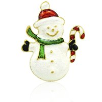 Wholesale Luxury Men Cloth Wholesale - Brand New Snowman Brooches Pins High Quality Luxury Enamel Gold Color Brooches For Men Cloths Decoration Jewelry