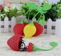 Wholesale Tea Dipper Balls - Strawberry shape silicon tea infuser strainer silicon tea filler bag ball dipper