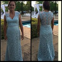 Wholesale Dresses Godmother - Vintage Light Sky Blue Lace Long Mother of the Bride Dresses Formal Godmother Women Wear Evening Wedding Party Guests Dress Plus Size