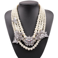 Wholesale Beautiful Pearl Jewellery Necklaces - The Most Beautiful Popular Statement Charming Luxurious Jewellery 3 Rolls White Artificial Pearl Necklace For Pretty Women
