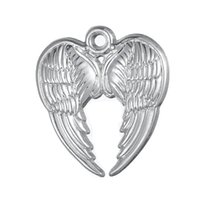 Wholesale Silver Angle Charms - 50pcs a lot Zinc Alloy Floating Antique Silver or Rhodium Plated Religious Angle Wings Pendant Charms For Gift DIY Jewelry