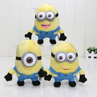 Wholesale Doll Overall - 6inch DAVE 3d eyes Plush DESPICABLE ME Wearing Blue and Red Overalls Black Shoes and Gloves STEWART JORGE Set of 3 Doll