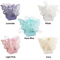 Wholesale Butterfly Laser Box - 100Pcs lot Laser Cut Hollow Multicolor Butterfly Candy Box Wedding Party Supply Favor Gift Box with Ribbon