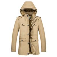 gabardina de gran tamaño para hombre al por mayor-Al por mayor-con capucha gabardina hombres capa larga chaquetas parka algodón gruesa polar invierno para hombre abrigo casual masculino rompevientos M-6XL tamaño grande