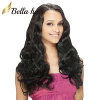Wholesale Elastic Hair Tie Charm - Hair Wigs For Black Women Bouncy Body Wave Charming Wavy Lace Wigs Peruvian Virgin Human Hair Bella Hair Free Shipping