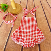 Wholesale Wholesale Baby Bubble Sets - baby romper set Red Gingham bubble romper Plaid baby clothes birthday gift romper matching headband toddler outfit