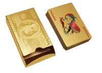 Wholesale gold playing cards dollar for sale - Group buy DHL Free Top Quality Gold foil plated playing cards Plastic Poker US dollar Euro Style and General style With Certificate