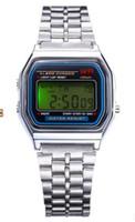 vintages saatler toptan satış-Yeni A159W saatler Erkek Klasik Paslanmaz Çelik Dijital Retro İzle Vintage Altın ve Gümüş Dijital Alarm A159W Spor Saatler A159 A159W