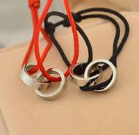 bracelets rouges à la main achat en gros de-LOVE bicyclique couple rouge chaîne corde à la main corde 18K plaqué or bracelets de titane bangle pour les femmes
