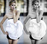 Wholesale Short Cheap Stylish Dresses - Black with White Big 3D Flower Short Party Dresses Cheap Stylish Taffeta Party Dresses for Women
