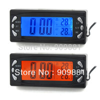 Wholesale Auto Weather - New T23 Car DC 12V Temperature Meters Auto LCD Digital Clock Temperature Thermometer Weather Station Thermometers Drop Shipping