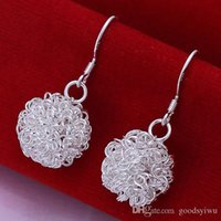 Wholesale Balls For Tennis - 925 Silver Earrings Flower Dangle Earrings Tennis ball Charms Earrings Fashion Christmas jewelry for women E076