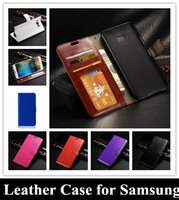 Wholesale Transparent Frame Purple - Crazy Horse Flip Wallet PU Leather Cover Money Card Pocket Photo Frame for Samsung galaxy S6 edge S6 A3 A5 A7 E5 E7 J5 J7 Note 4