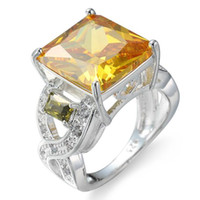 Wholesale green citrine stone resale online - 10 LuckyShine Color High Quality Peridot Citrine Crystal Cubic Zirconia Sterling Silver Rings for Women Christmas Holiday Gift