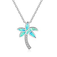 Wholesale Blue Heart Diamond Pendant - Coconut Tree Design Blue Fire Opal Pendant Necklace Simulated Diamond Cubic Zirconia 925 Sterling Silver Necklace